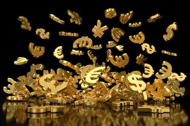 Złote symbole walut. renderowanie 3d.