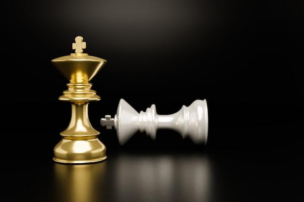 Złote szachy i białe na czarnym tle, koncepcja biznesowa, renderowanie ilustracji 3d