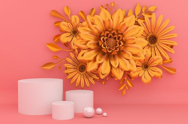 Złote tło do prezentacji produktów kosmetycznych. pusta gablota wystawowa, 3d kwiatu papieru ilustracyjny rendering.