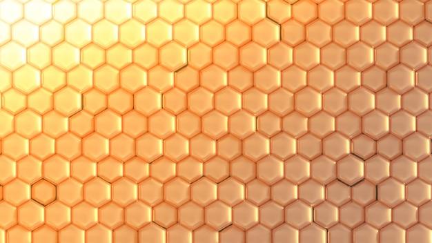 Złote tło geometryczne z sześciokątów. renderowania 3d.