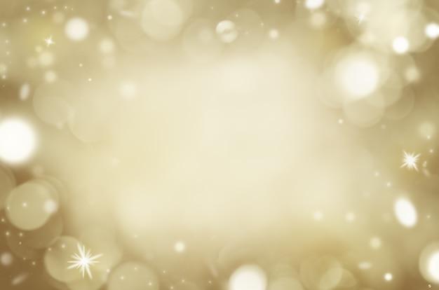 Złote tło z bokeh i błyszczącymi cząsteczkami