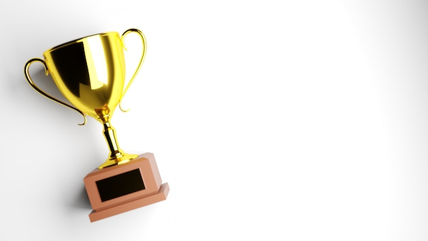 Złote trofeum na białym tle