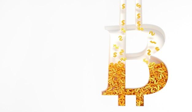 Złote znaki dolara sypyatsya w znaku bitcoin