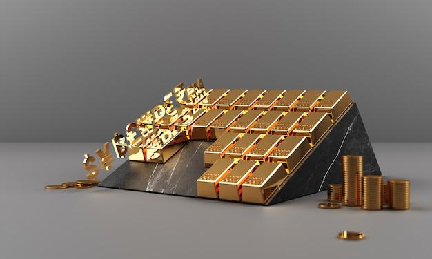 Złoto i monety z pieniądze waluty i marmuru tekstury geometrycznym 3d renderingiem