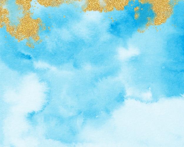 Złoto i niebieskie tło akwarela, pastelowe niebieskie tekstury