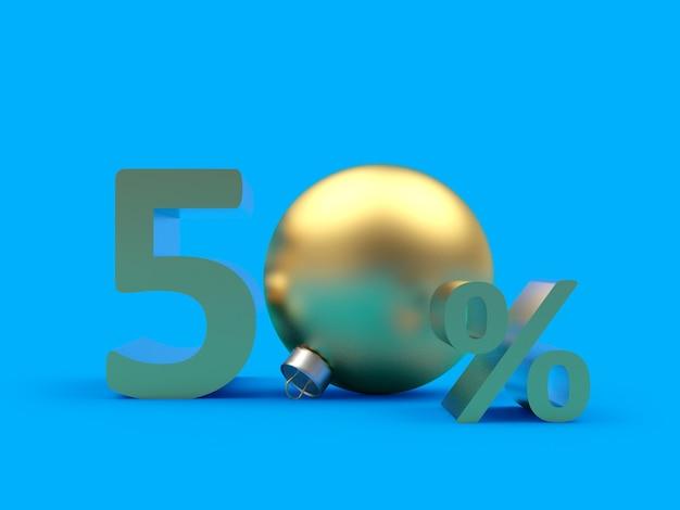 Złoto pięćdziesiąt procent zniżki z bombką bożonarodzeniową
