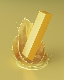 Złoto spadło w sam środek rozpryskującego się złotego płynu. renderowanie 3d