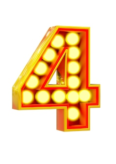 Złoty 3d numer cztery ze świecącą żarówką na białym tle na białej powierzchni.