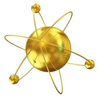 Złoty atom na białym tle