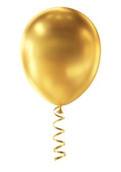Złoty balon na białym tle