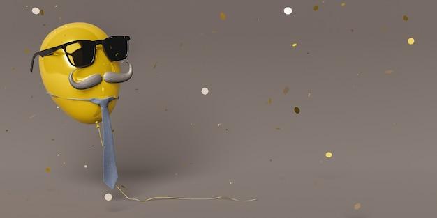 Złoty balonik z okularami przeciwsłonecznymi, wąsami i krawatem zawieszony w powietrzu z opadającym na niego złotym konfetti