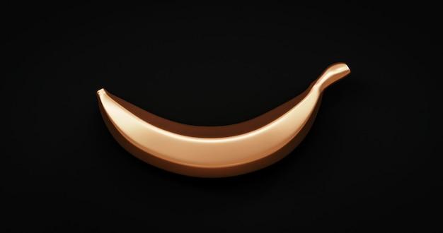 Złoty banan abstrakcyjny wzór lub świeże kreatywne tropikalne słodkie smaczne organiczne owoce na czarnym tle z koncepcją współczesnej sztuki złotej. renderowanie 3d.