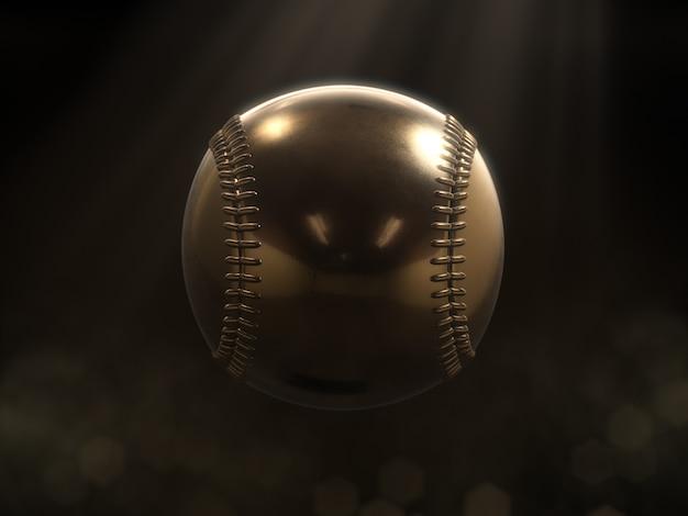 Złoty baseball z ciemnym tłem