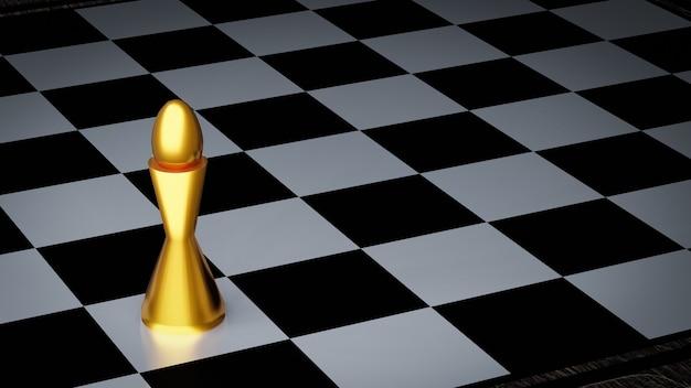 Złoty biskup szachowy na szachownicy