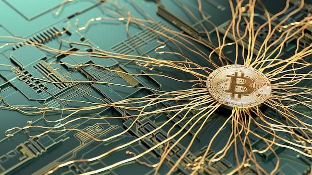 Złoty bitcoin na płytce drukowanej komputera