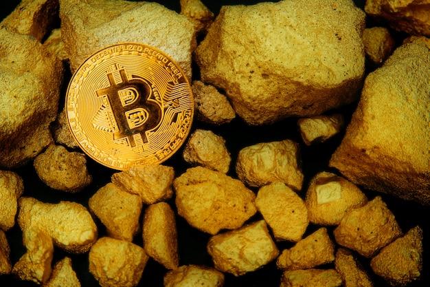 Złoty bitcoin pieniądze globalnej gospodarki rynku.