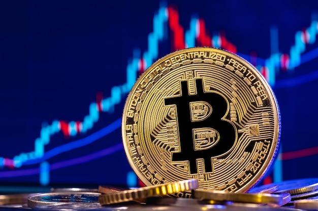 Złoty bitcoin w stosie monet wykres giełdowy z świecznikami.