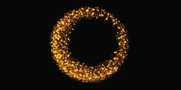 Złoty brokat koło abstrakcyjny efekt świetlny wirowa musująca gwiazda pyłu ilustracja 3d