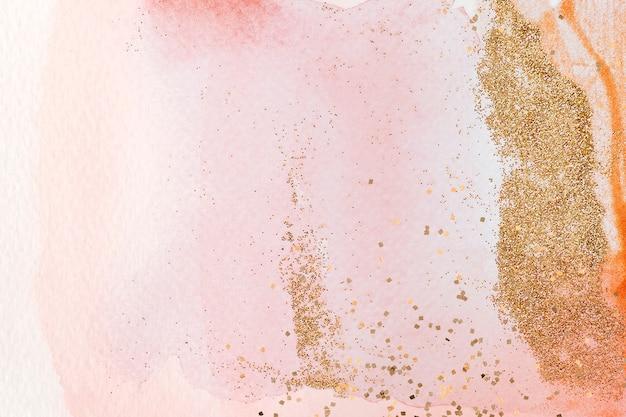 Złoty brokat na różowym tle akwarela