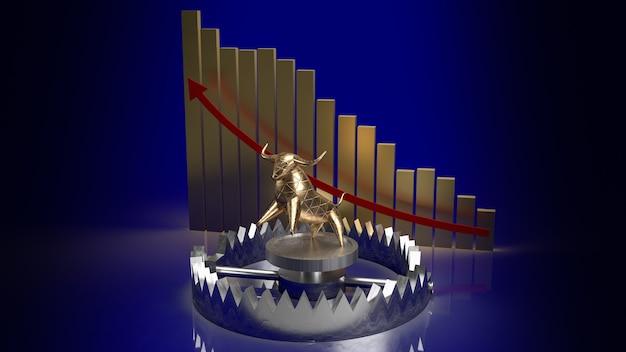 Złoty byk w pułapce i strzałka wykresu w górę dla koncepcji biznesowej renderowania 3d