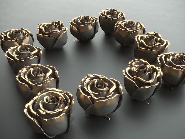Złoty czarny kwiat czarny kamień róża na czarnym tle. renderowania 3d