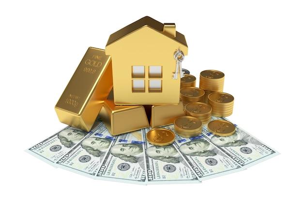 Złoty dom wśród monet z paskami na banknotach dolarowych