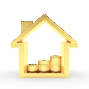 Złoty dom z wykresem monet w środku