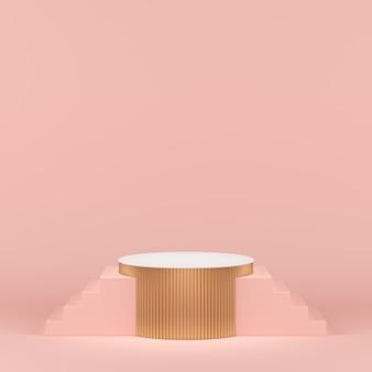 Złoty geometryczny kształt podium dla produktu.