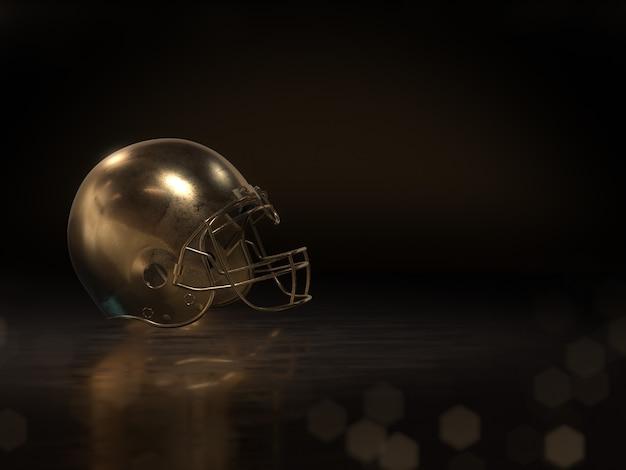 Złoty hełm piłkarski izoluje na ciemnym tle