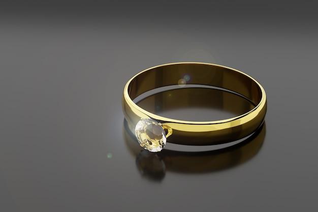 Złoty i diamentowy pierścionek na białym tle na czarnym tle.