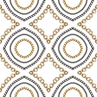 Złoty i niebieski łańcuch na białym tle. luksusowy wzór.