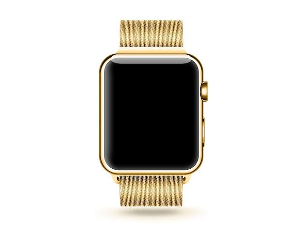 Złoty inteligentny zegarek pusty ekran makiety na białym tle.