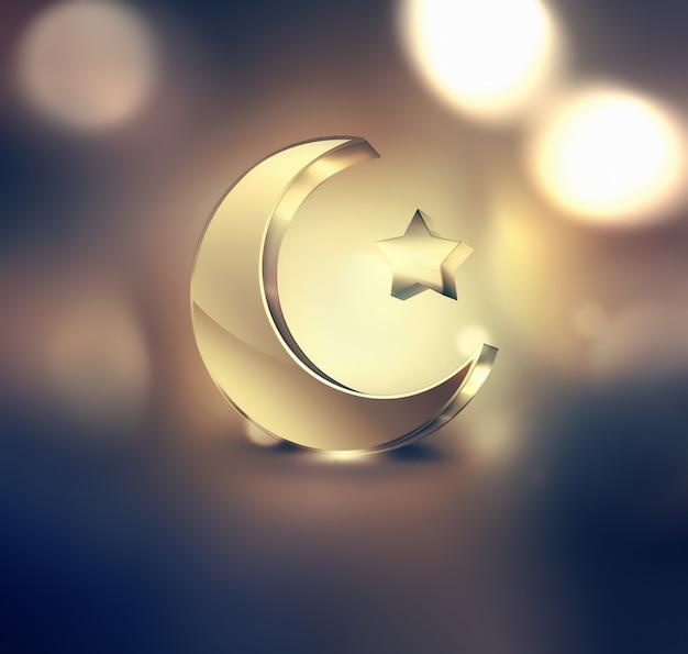 Złoty islamski półksiężyc i gwiazda na ciemnym tle projektu ramadan kareem