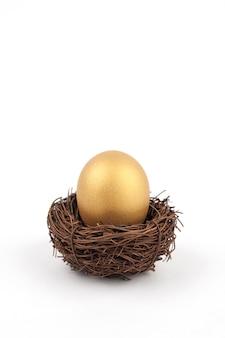Złoty jajko na białym tle