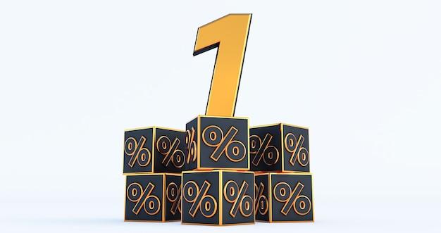 Złoty jeden 1 procent liczby z procentami black kostki samodzielnie na białym tle. renderowanie 3d