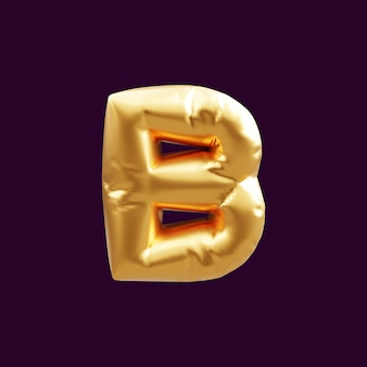 Złoty kapitał b litera balon ilustracja 3d. 3d ilustracja balonu złoty kapitał litera b.