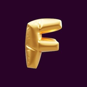 Złoty kapitał f list balon ilustracja 3d. 3d ilustracja złoty balon z literą f.