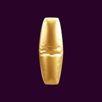 Złoty kapitał ja list balon ilustracja 3d. 3d ilustracja złoty kapitał ja list balon.