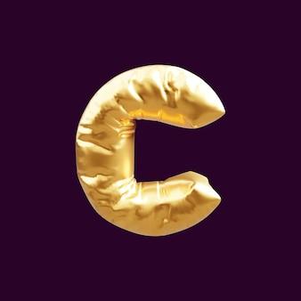 Złoty kapitał litera c balon ilustracja 3d. 3d ilustracja złoty balon litery c.