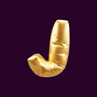 Złoty kapitał litera j balon ilustracja 3d. 3d ilustracja złoty balon z literą j złoty.