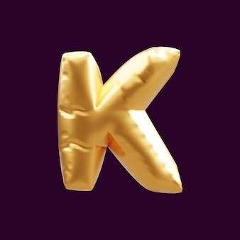 Złoty kapitał litera k balon ilustracja 3d. 3d ilustracja złoty balon z literą k.