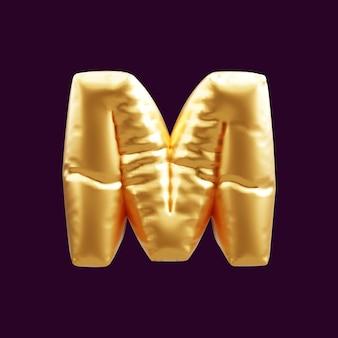 Złoty kapitał litera m balon ilustracja 3d. 3d ilustracja balonu złotego kapitału litery m.
