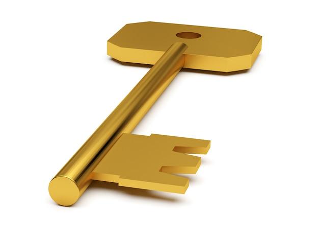 Złoty klucz na białym tle