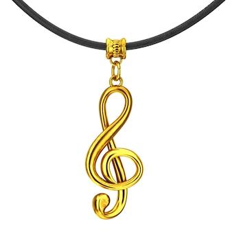 Złoty klucz wiolinowy coulomb z liną na białym tle. renderowanie 3d