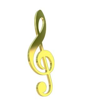 Złoty klucz wiolinowy. renderowanie 3d.