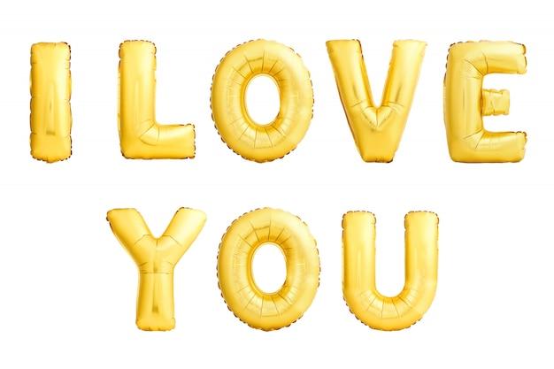 Złoty, kocham cię podpisać. nadmuchiwane balony na białym tle.