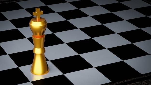 Złoty król szachowy na szachownicy
