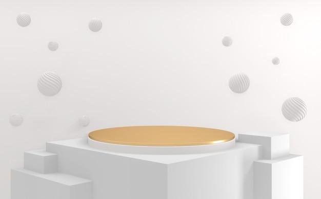 Złoty kształt cylindra biały styl, podium minimalistyczny geometryczny. renderowanie 3d