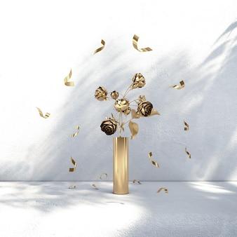 Złoty kwiat i wstążka w białej ścianie