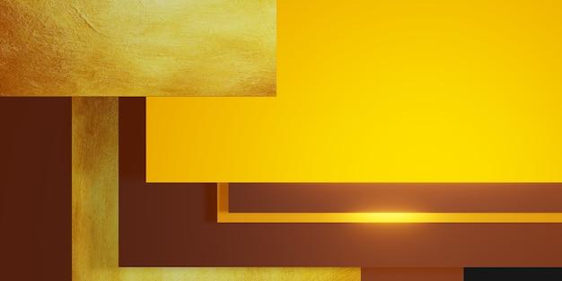 Złoty liść tekstura tło czarno-żółta rama poziom podłogi elegancka potężna ilustracja 3d